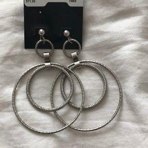 Circle Hoop Silver Earrings